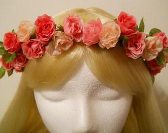 Flower Crown, Head Wreath, 3 Pink Roses Light Pink, Hot Pink to Fuchsia Rose Wedding Flower Girl Bride Spring Halo Garland Prom Mori Kawaii
