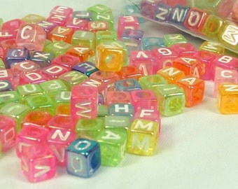 Alphabet Cube Beads Rainbow Translucent Square Bead 200 pieces 6mm by 6mm Side Drill Craft Supply letter beads