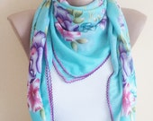 Spring Trends, scarf, stylish accessory, Blue thin scarf, women fashion. Accessories
