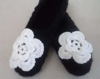 Slippers, Women Socks, Women Slippers, Black Socks, House Socks, Crochet Slippers, Slippers Socks, For Her Gifts, Valentine Gifts