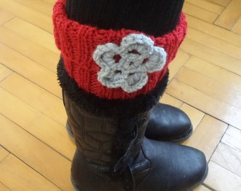 Knit Boot Cuff, leg warmers, hand knit red, boot cuffs, winter accessories. Leg Warmer, Women accessories, shoe accessories, gifts for her