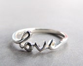 Cursive Love Ring in Sterling Silver, Silver Love Ring, Jewelry, Rings, Friendship Ring, Cursive Ring, Bridesmaid, Weddings, Favors, Summer,