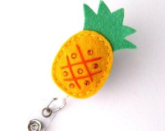Pineapple - Tropical Name Badge Holder - Cute Badge Reels - Unique Retractable ID Badge Holder - Felt Badge Reel - RN Badge - BadgeBlooms