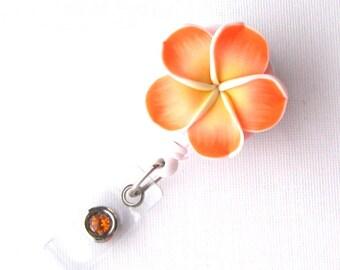 Orange Plumeria - Retractable Badge ID Reels - Flower Badge Holders - Designer ID Reel - Teacher Gift - Pretty ID Badge Clips - Badge Blooms