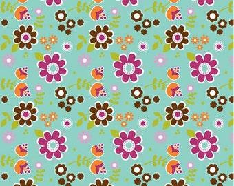 Matryoshka Floral Aqua 1 yard cut Riley Blake Designs