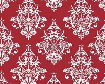 Damask Red Remember by Carina Gardner , 1 Yard Cut, Riley Blake Designs