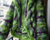 Handknitted woman fairy shrug,vest,bolero,sweater,a vegetal dress made with somptuous,secret fibers,vivid green,purple,grey