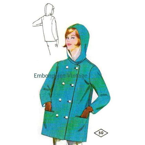 Plus Size (or any size) Vintage 1969 Coat Pattern - PDF - Pattern No 50 Dina