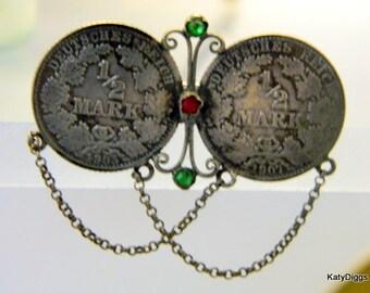 Antique Tie Ring Sterling Silver Deutshes Reich half Mark Coins 1905,1907 Victorian Era