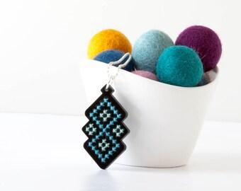 Cross Stitch Necklace Kit - DIY Embroidered Pendant, Black Acrylic with Blue Diamond Pattern