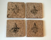 Antiqued Fleur de Lis Coasters Set of 4