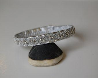 Sami Bracelet - Lapland - Pewter Silver Reindeer leather  Sterling Silver Beads  - Sweden