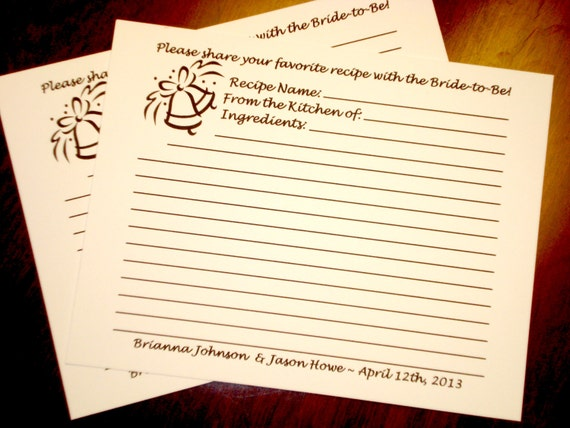 Wedding Gift Recipe Cards : Recipe Cards for Bridal Shower, Wedding, or Anniversary gifts ...