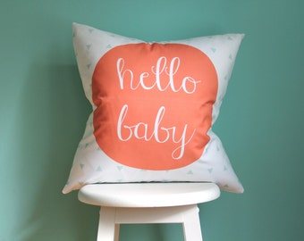 Pillow Cover Hello Baby Coral Mint. Pillow Cover. Throw Pillow. Decorative Pillow. Coral Pillow Cover. Hello Baby Pillow Cover.