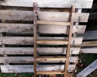 Reclaimed Wooden Ladder, Walnut Stain, Blanket Rack, Tie Rack, Scarf Rack, Towel Rack