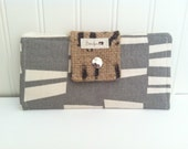 Women's Large Checkbook Wallet withSalvaged Burlap Geometric Gray, Teal and Chartreuse Acorns and Owls