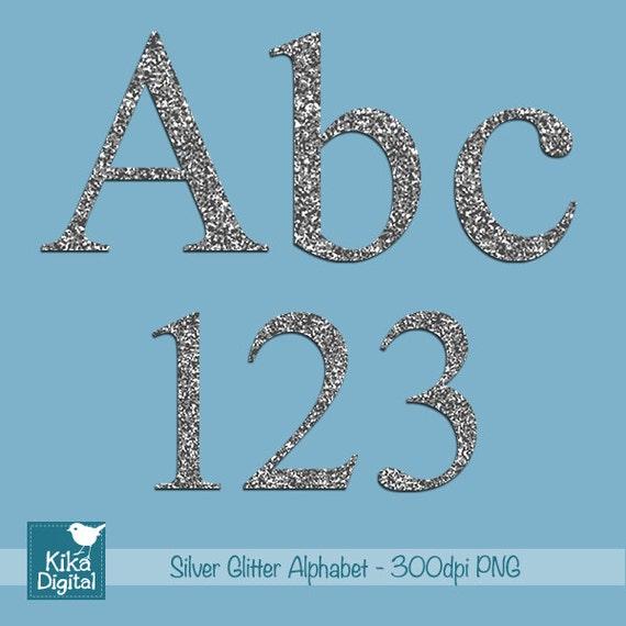 silver glitter alphabet digital clipart scrapbooking