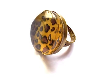 Ring Lucite - Leopard Print
