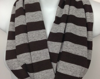 Chocolate Brown and Gray striped cotton jersey sweater knit infinity scarf