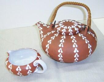 Zeuthen Denmark red earthenware teapot and creamer 60s