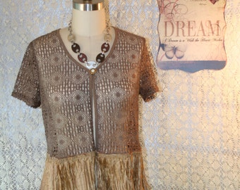 Upcycled Tattered Boho Shabby Chic Sweater Rustic Gypsy Cowgirl Jacket Farm Girl Prairie Jacket