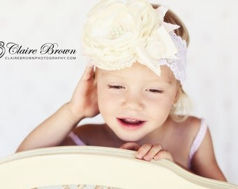 Cream Headband -Ivory Headband- Baptism Headband- Flower Girl Headband-Headband-Photo Prop