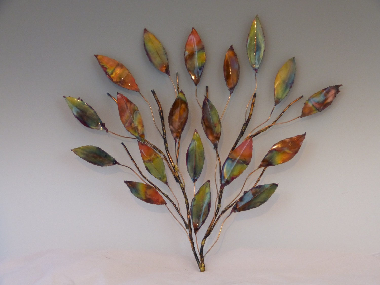 Copper branch sculpture metal sculpture home decor wall art for Deco metal mural