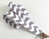 Chevron Lanyard ID Badge Holder Grey White Chevron Key Lanyard - Fabric Lanyard Choose Your Color, Teacher Lanyard, Nurse Lanyard