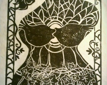 Spring Revival original 9 x 12 linocut print deep chocolate brown on handmade papers