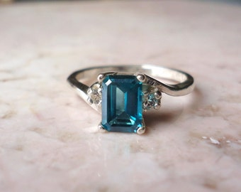 Emerald Cut Teal Green Topaz Ring with White Sapphire Accent - Any Size