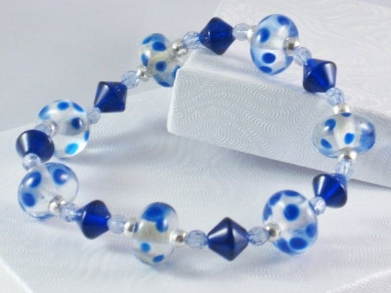 Beaded, Stretch Bracelet in Royal Blue