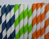 50 Dinosaur  Mixed- Lime Green Orange Navy Blue Striped Paper Straws-Dino Dan, Toy Story Party- Dinosaur Train Decorations
