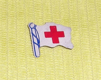 REDUCED...... Vintage Red Cross Flag Pin