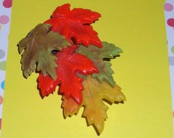 Vintage Dress Clip... Autumn Leaves...Celluloid Dress Clip...Maple Leaf Cascade....Antique  Shoe Clip