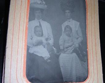 Tintype Photo .....Big Hats ....Cute Babies.....1800's Clothing High Fashion