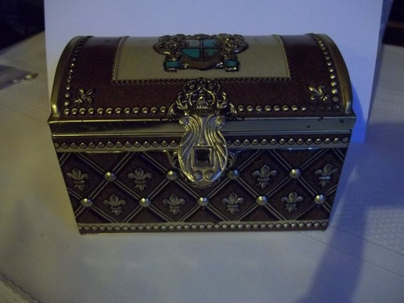 Vintage Dome top Tin Treasure Chest with crest and fleur de lis- Made in West Germany - Jewelry Box