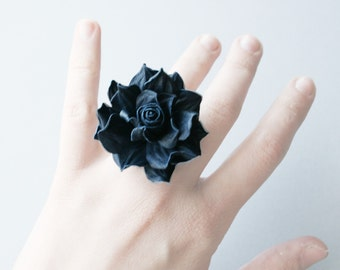 Blue leather rose flower ring