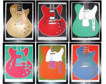Set of Six Limited Edition Original Prints of Classic Guitars