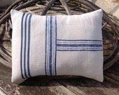 Antique European handwoven GRAINSACK fabric,  Homespun HEMP &  LINEN, French Coastal, Decorative, Rustic Pillow Cushion,