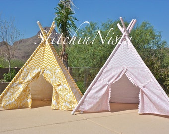 StitchinNista TeePee (Ready to Ship) - Fort Tent Indoor Outdoor Play Photo Prop Tee Pee Playhouse