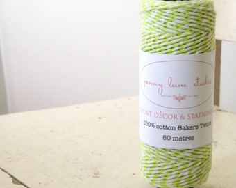 ON SALE Tangy Lime and White 100% cotton Bakers Twine - 50 metre roll - Tags, craft, bonbonerie