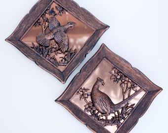 Pair of Vintage Copper Guild Wall Hangings, Bird Wall Hangings
