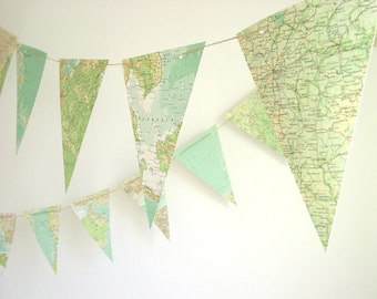 Atlas Bunting-Upcycled Map Bunting-Photo Prop-Wedding Garland-Wedding Decor-Wedding Bunting-Nursery Decor-Recycled-Paper Garland