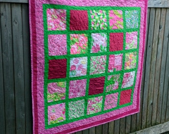 Custom Baby Girl Quilt using Bridesmaid Dress Fabric, Repurposed, Memory, Upcycled