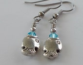 Earrings Tiny Silver Fish With Aqua Crystal Drop Earrings