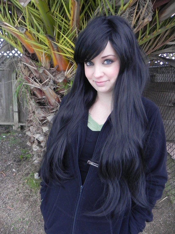 black long wavy straight layered wig extra thick by exandoh