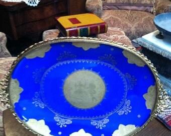 Vintage Antique Colbalt gold gilt French salon scene platter plate home decor