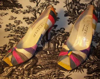 HEELS by Stuart Weitzman striped silk with sweater REDUCED