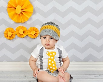 Yellow and Grey Baby Boy Tie Bodysuit with Suspenders and Crocheted Hat, GET THE SET - Pick your own