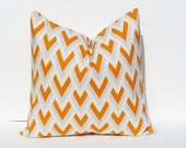 20x20 Throw Pillow Covers Pillow Orange Pillow Chevron Pillow Cover ONE 20x20pillow Decorative Pillow Printed Fabric both sides